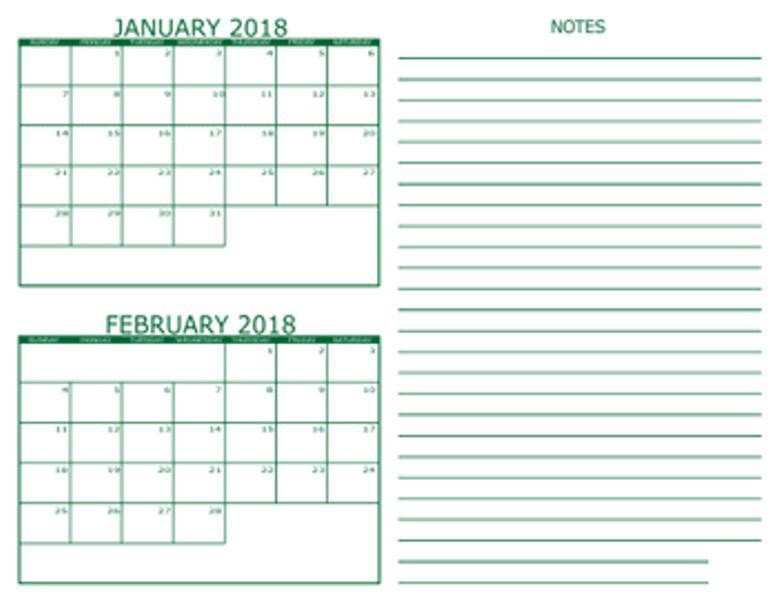 February January 2018 Calendar
