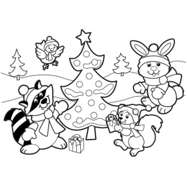 Happy Christmas Day Coloring Pages For Kids