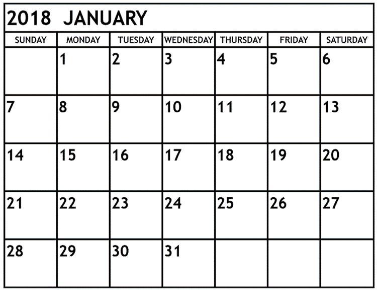 January 2018 Calendar Monthly