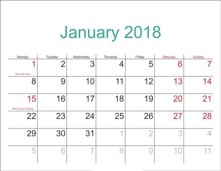 January 2018 Calendar With Holidays