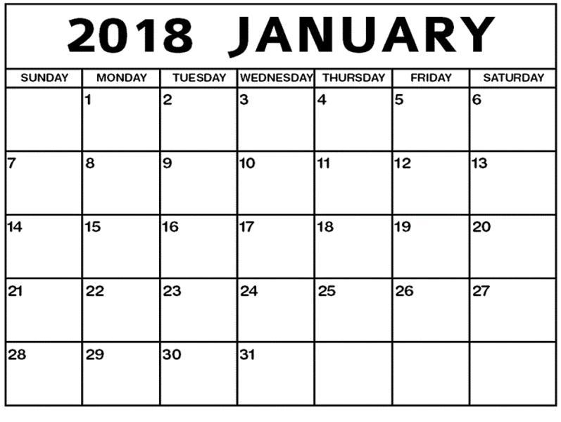 January 2018 Calendar