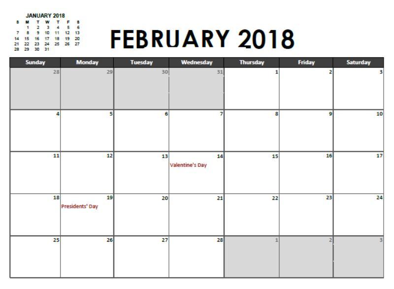 January 2018 February Calendar Printable