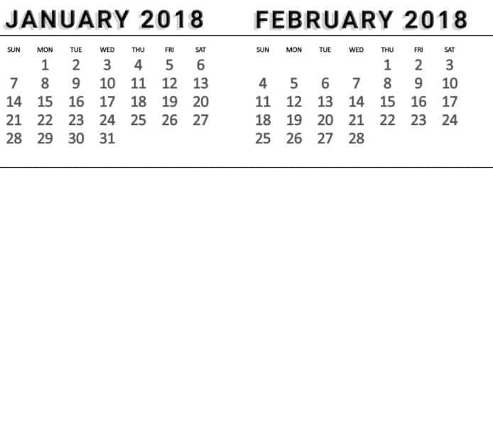 January 2018 February Calendar