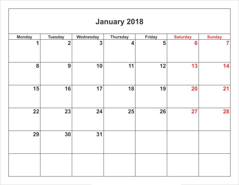 January 2018 Printable Calendar Template