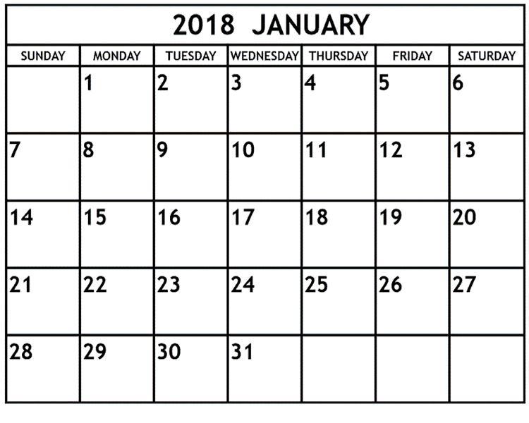 January Calendar 2018 Printable Template