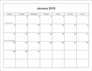 January Calendar 2018 With Holidays Printable