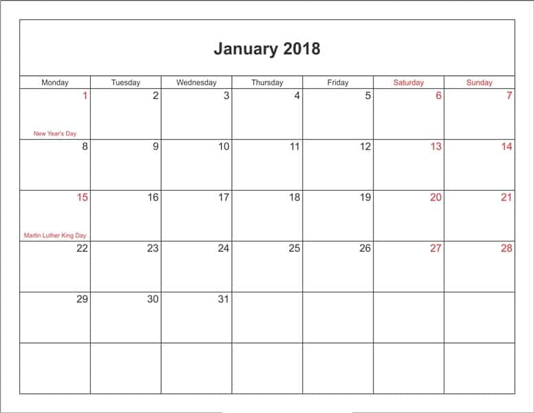 January Calendar 2018 With Holidays Printable