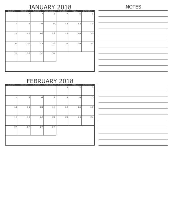 January February 2018 Calendar
