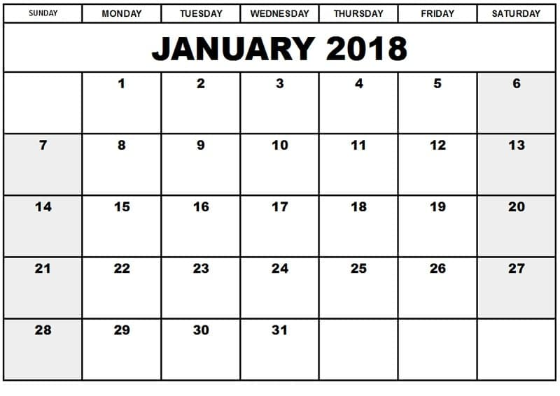 Monthly January 2018 Calendar