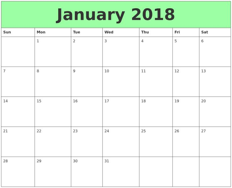 Printable January 2018 Calendar Template