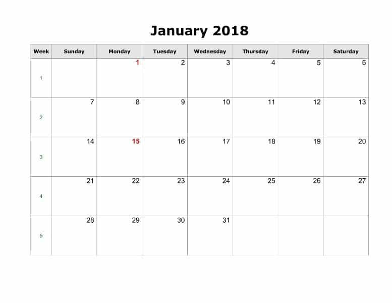 Printable January 2018 Calendar Template