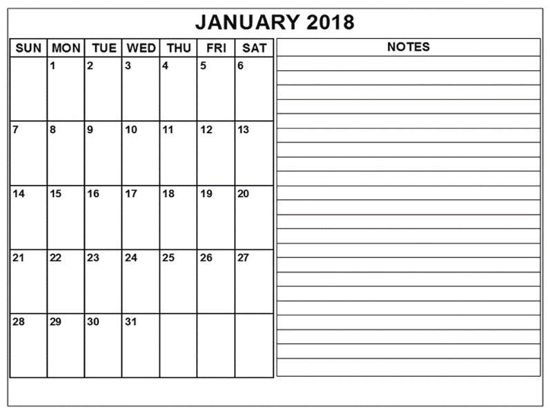 Printable Monthly January 2018 Calendar