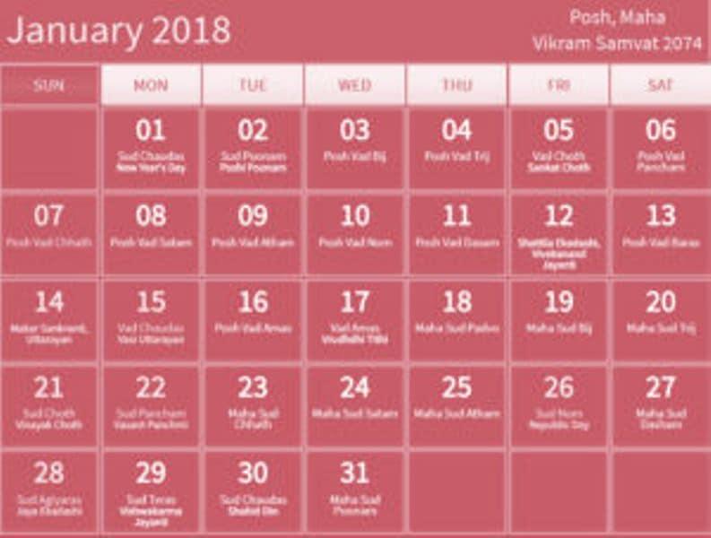 Telugu Calendar January 2018