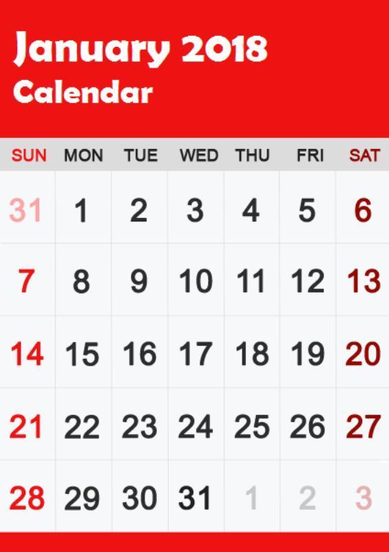 Telugu January 2018 Calendar