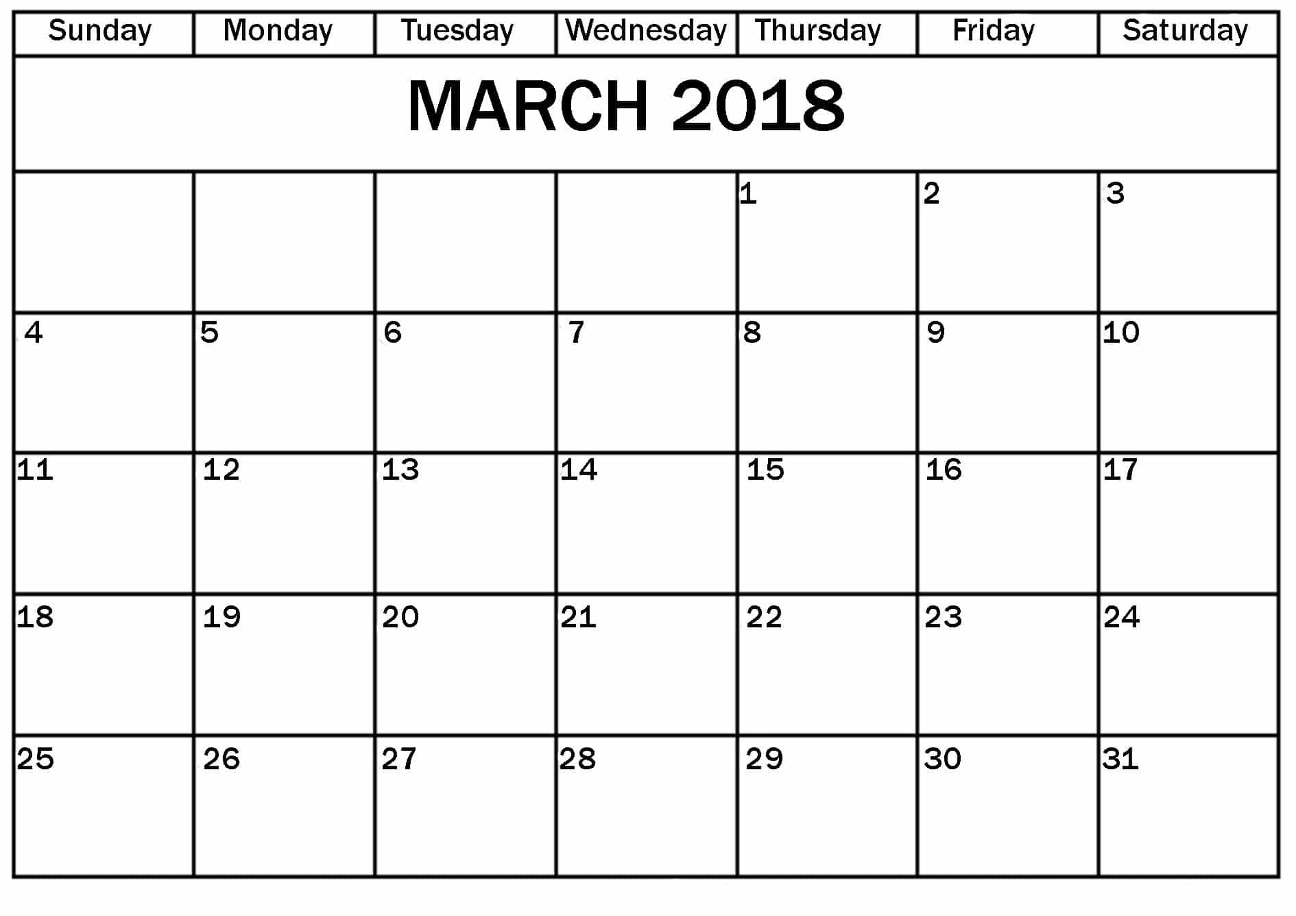 2018 Calendar March UK