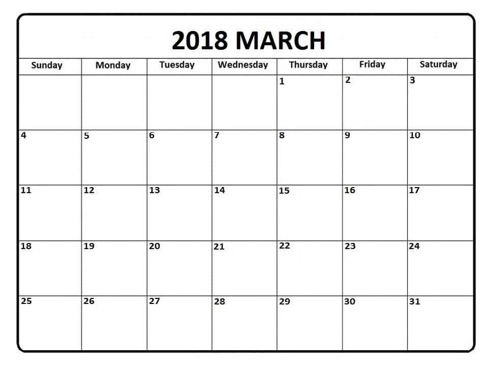 2018 Calendar March Template