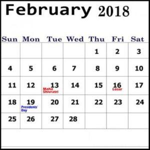 2018 February Calendar Kalnirnay Hindi