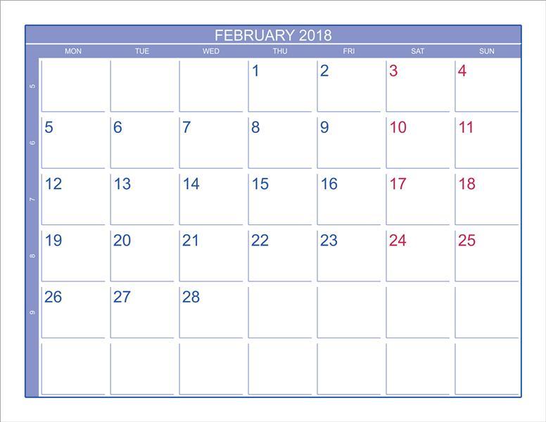 2018 February Calendar Printable