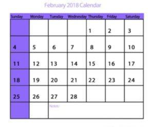 2018 February Calendar Printable Template