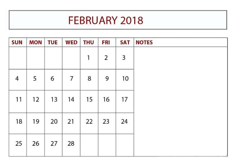 2018 February Calendar Template