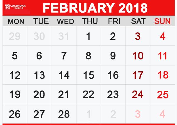 2018 February Calendar free images