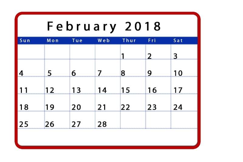 2018 February Calendar templates download