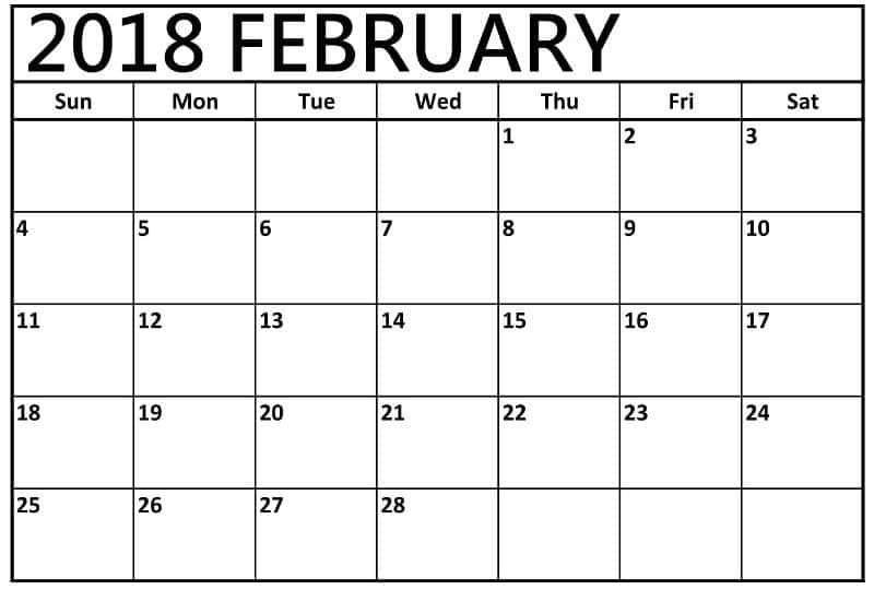 2018 February Calendar free download