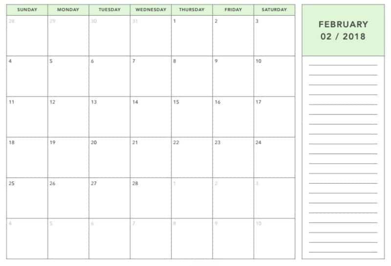 2018 February Monthly Calendar