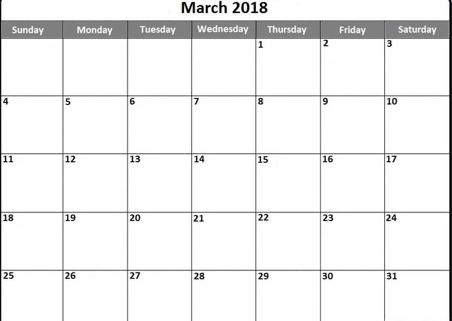 2018 March Calendar Monthly