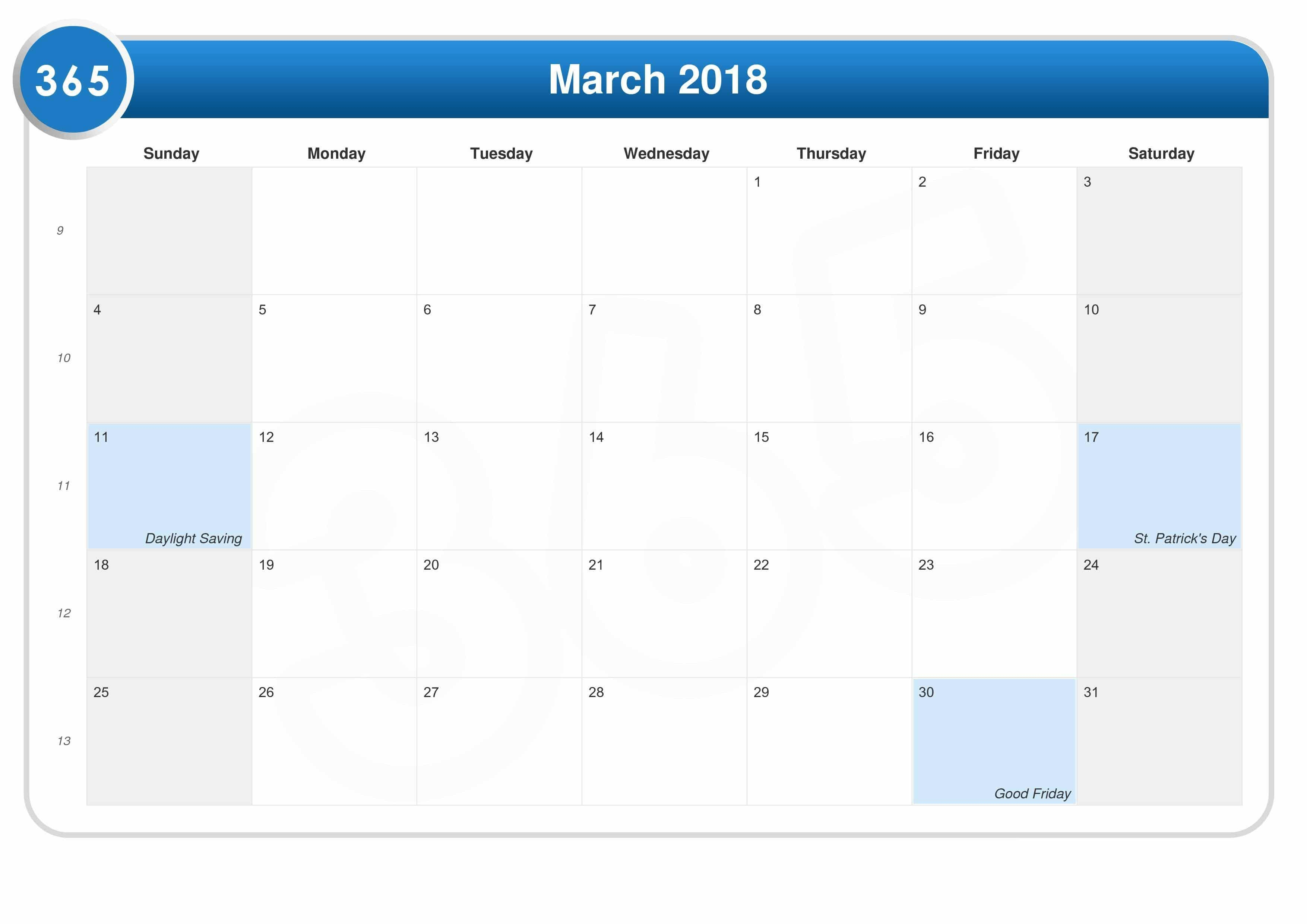 2018 March Calendar Pdf