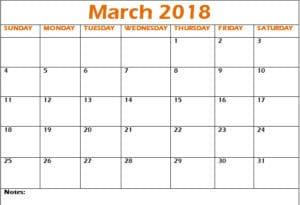 2018 March Calendar Printable