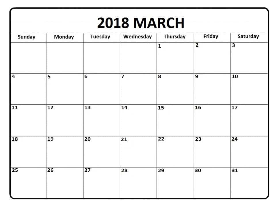 2018 March Calendar Printable Template