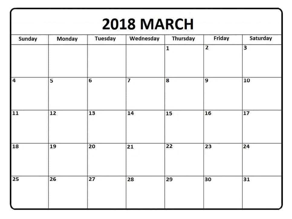 2018 March Calendar Printable Template