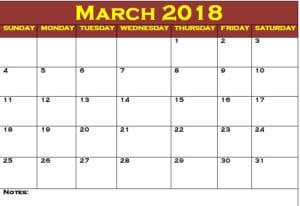 2018 March Calendar Printable Word