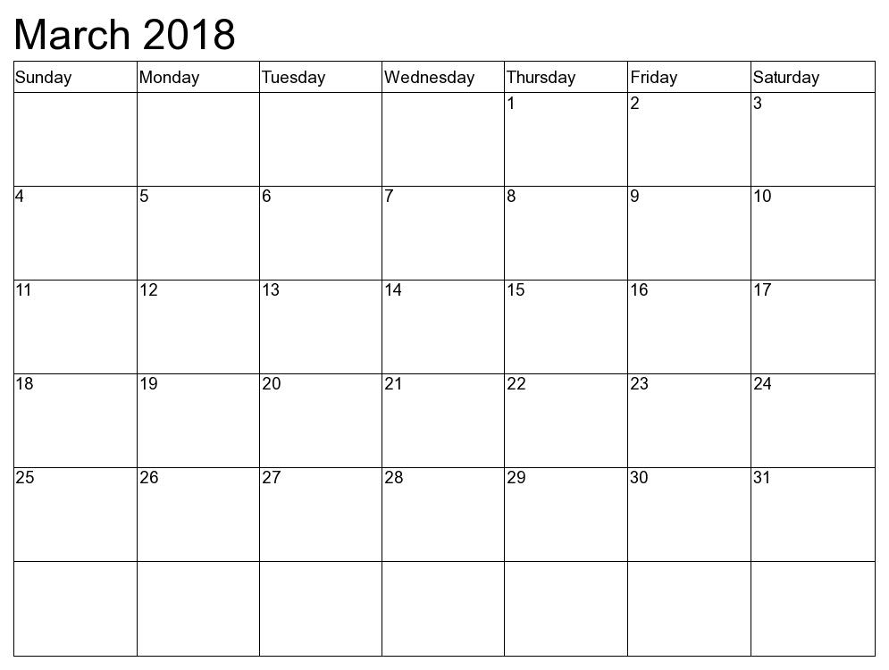 2018 March Calendar Word