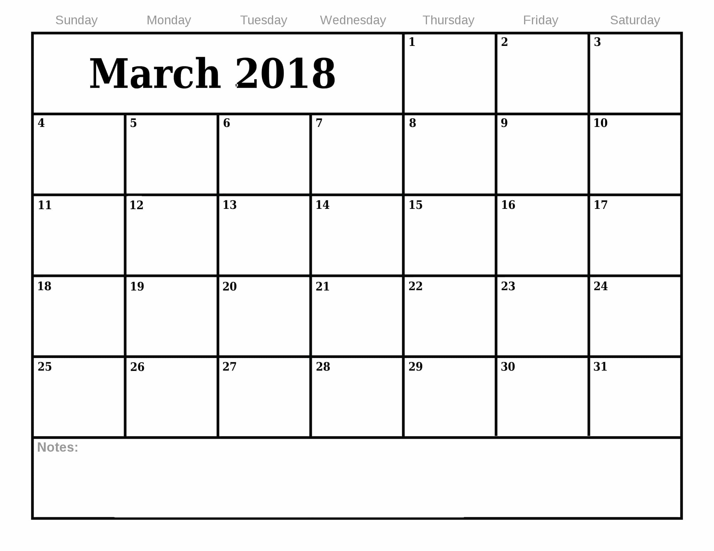 2018 March Monthly Printable Calendar