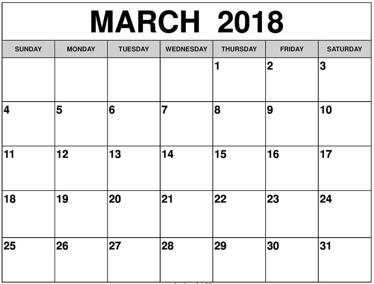 2018 March Printable Calendar2018 March Printable Calendar