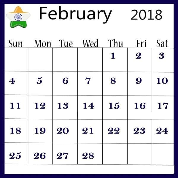 Blank 2018 February Calendar
