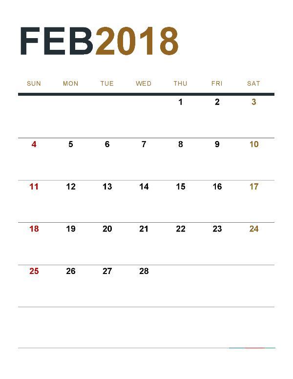 Blank Calendar February 2018