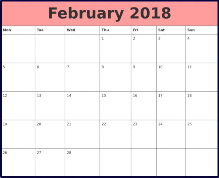 Blank Calendar February 2018 Printable