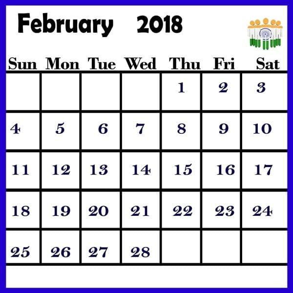 Blank Calendar February 2018 Template