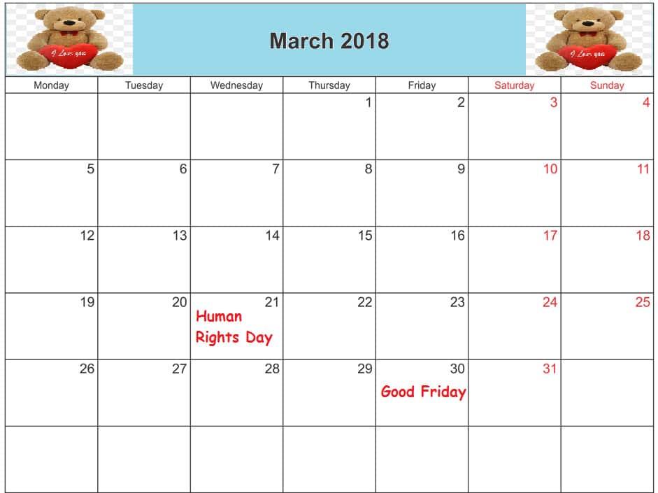 Blank Calendar March 2018