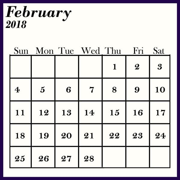 Blank February 2018 Calendar