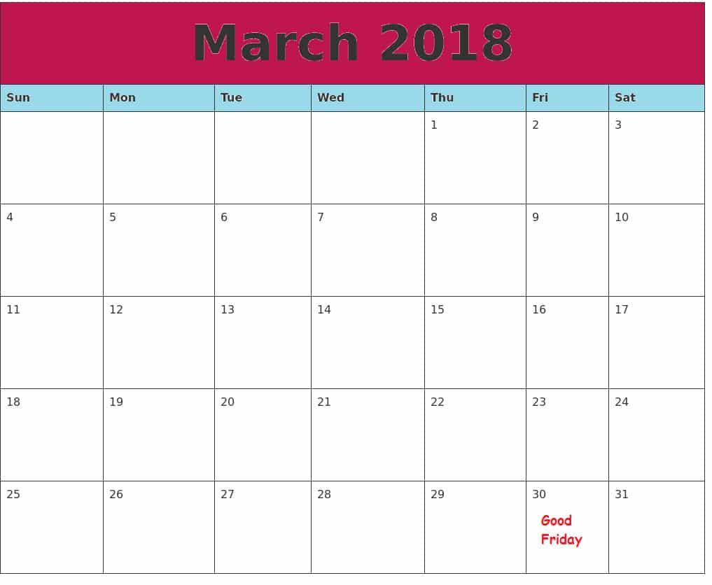 Blank March Calendar 2018