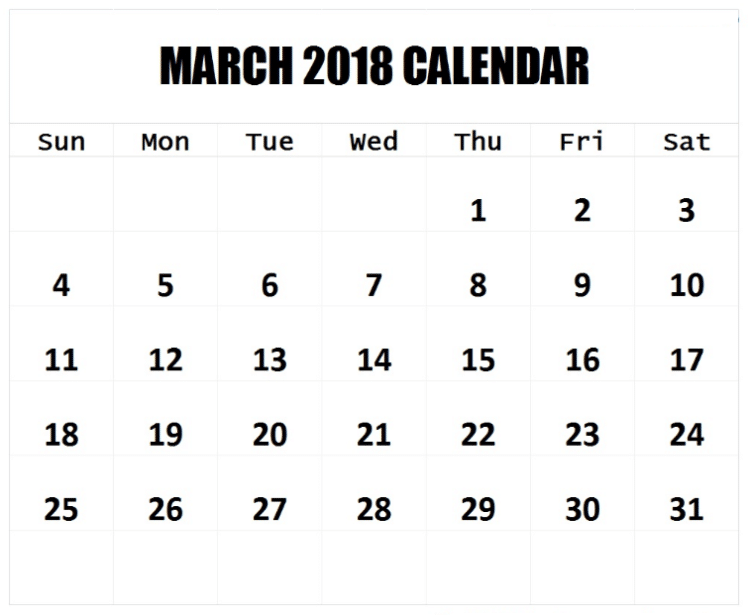 Blank Monthly March Calendar 2018