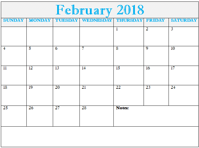 Calendar 2018 February free download