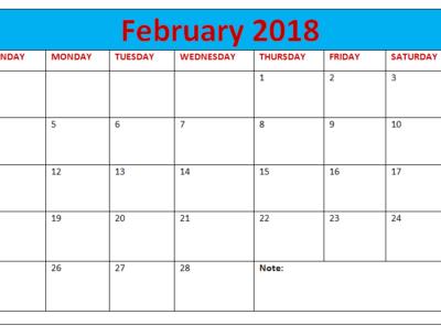 Calendar 2018 February notes