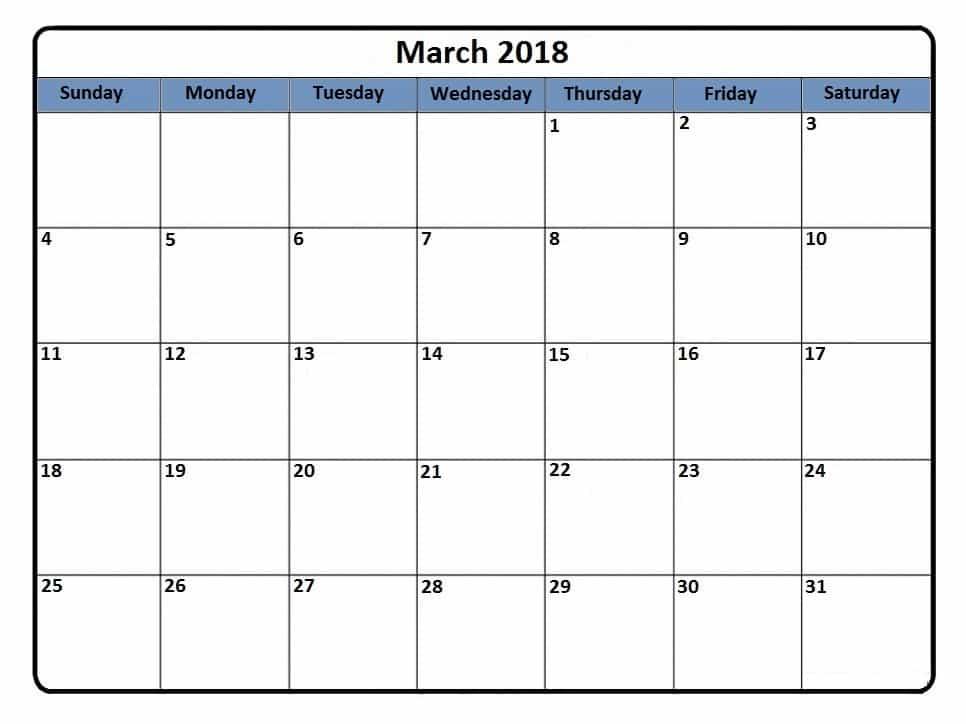 Calendar 2018 March Printable