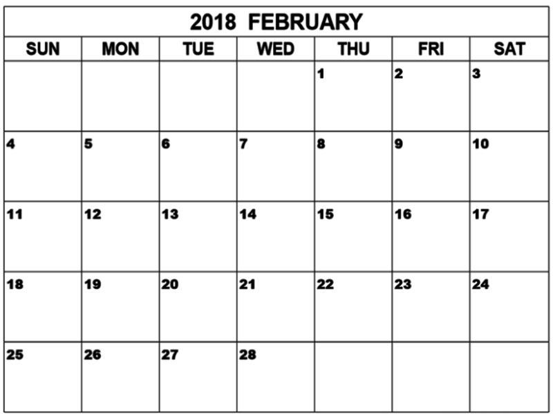Calendar February 2018 Blank