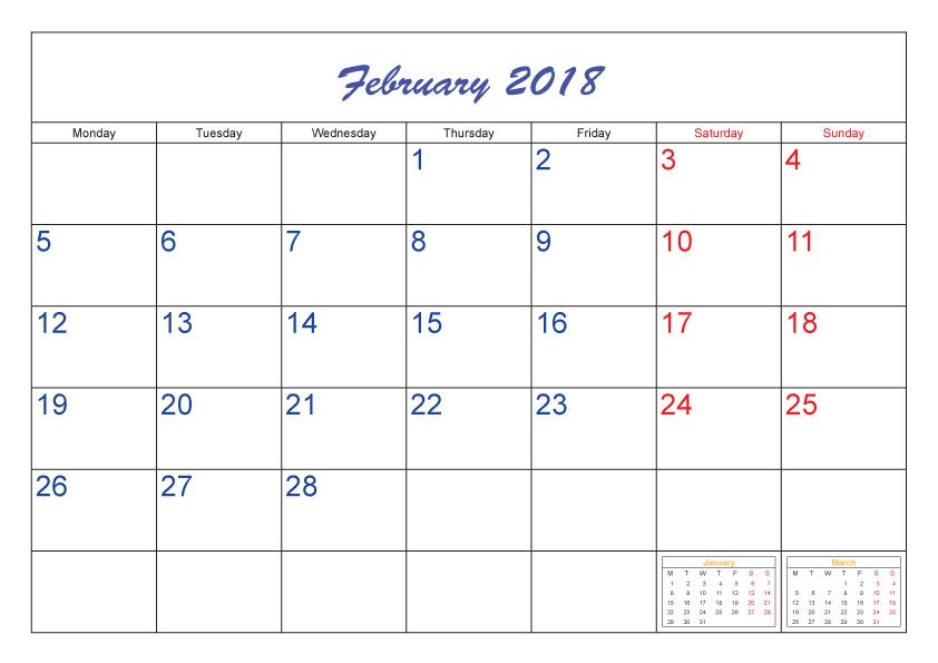 Calendar February 2018 free template